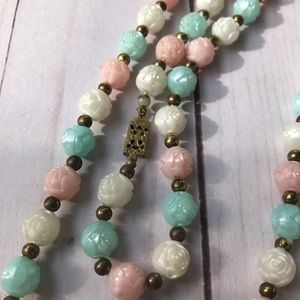 Vintage Rose Bead Necklace